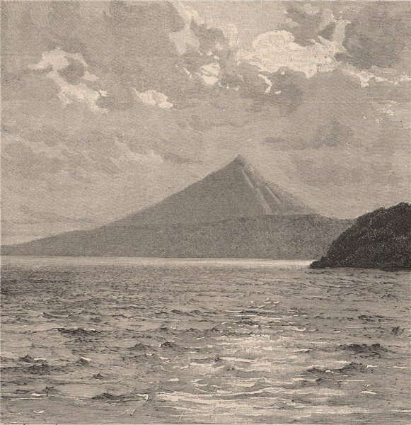 Associate Product Mombacho Volcano and shores of Lake Nicaragua. Central America 1885 old print