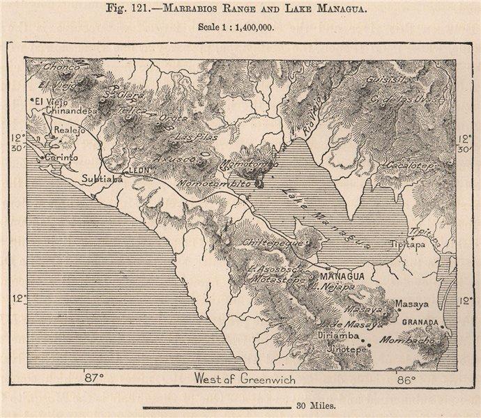 Associate Product Cordillera de Maribios.Marrabios range.Lake Managua.Leon.Nicaragua 1885 map