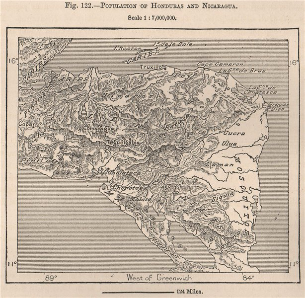 Associate Product Peoples/tribes of Honduras and Nicaragua. Central America 1885 old antique map