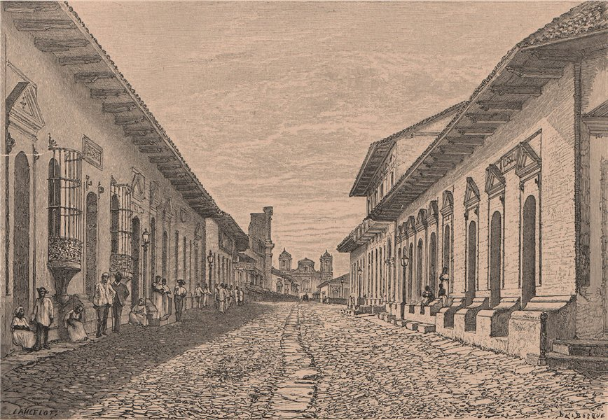 Associate Product Leon León - View in the main thoroughfare. Nicaragua. Central America 1885