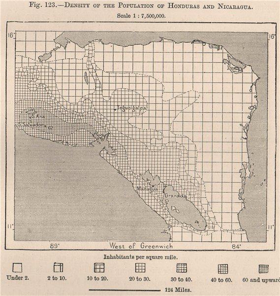 Associate Product Density of the population of Honduras and Nicaragua. Central America 1885 map