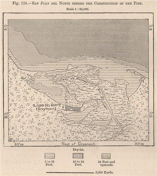 Associate Product San Juan de Nicaragua/San Juan del Norte/Greytown pre Pier construction 1885 map