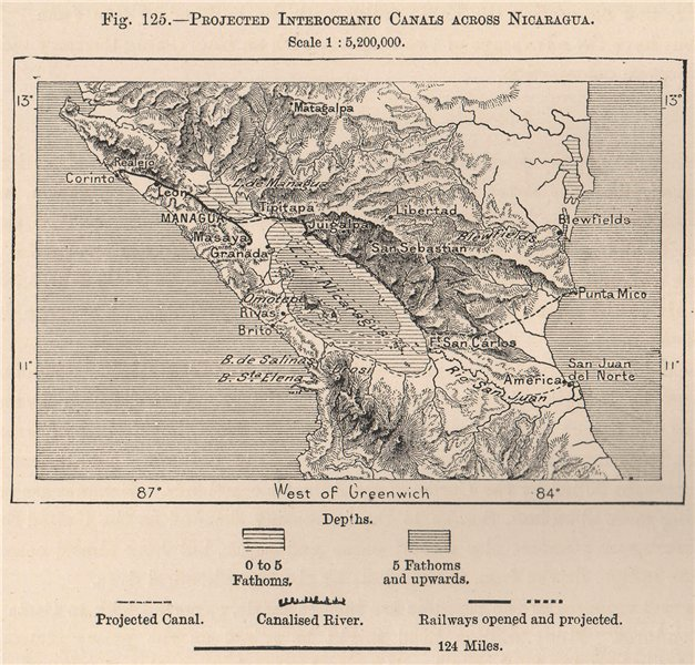 Associate Product Projected Interoceanic Canals across Nicaragua. Central America 1885 old map