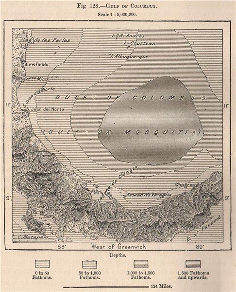 Associate Product Gulf of Columbus. Golfo de los Mosquitos. Panama Costa Rica 1885 old map