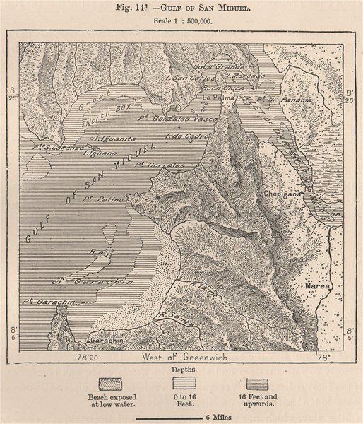 Associate Product Gulf of San Miguel. Panama 1885 old antique vintage map plan chart