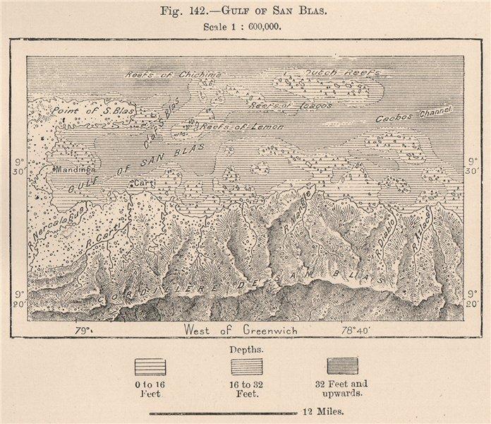 Associate Product Gulf of San Blas. Panama 1885 old antique vintage map plan chart