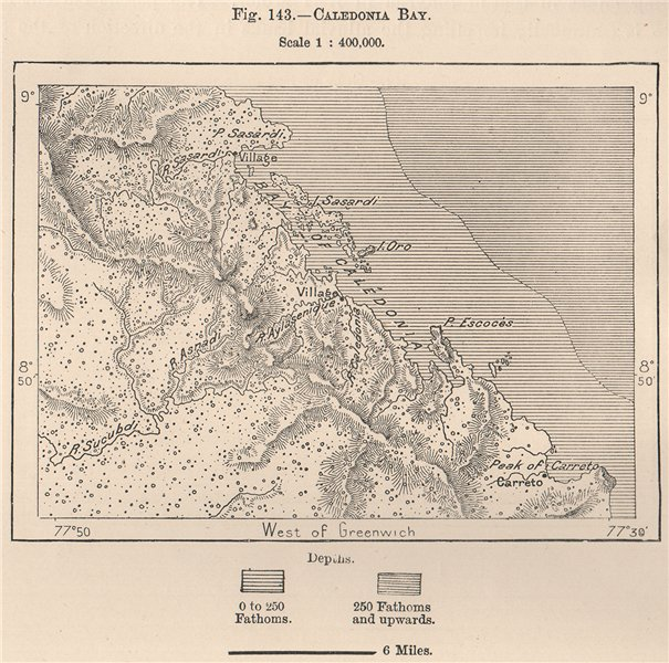 Associate Product Caledonia Bay. Panama 1885 old antique vintage map plan chart