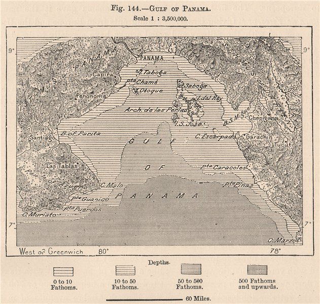 Associate Product Gulf of Panama 1885 old antique vintage map plan chart