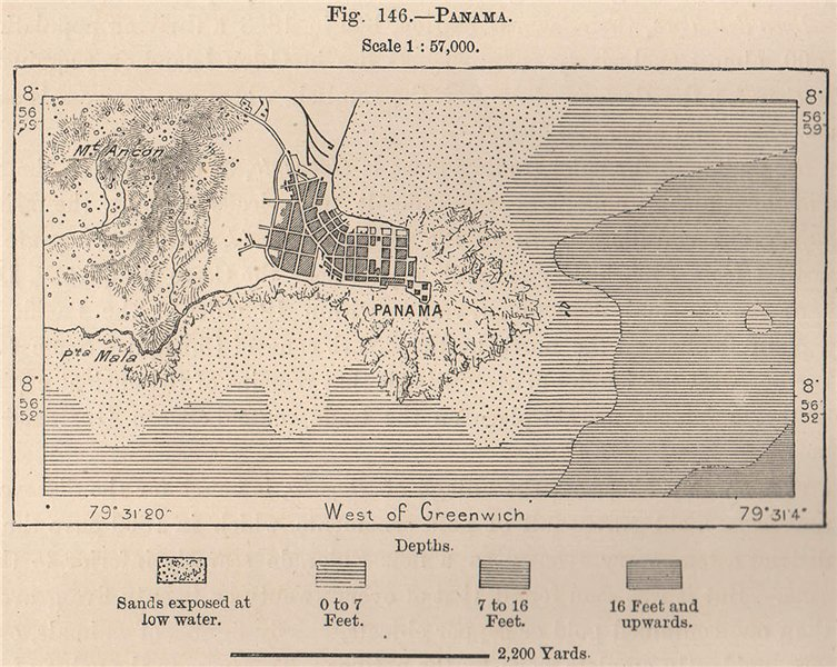 Associate Product Panama City 1885 old antique vintage map plan chart