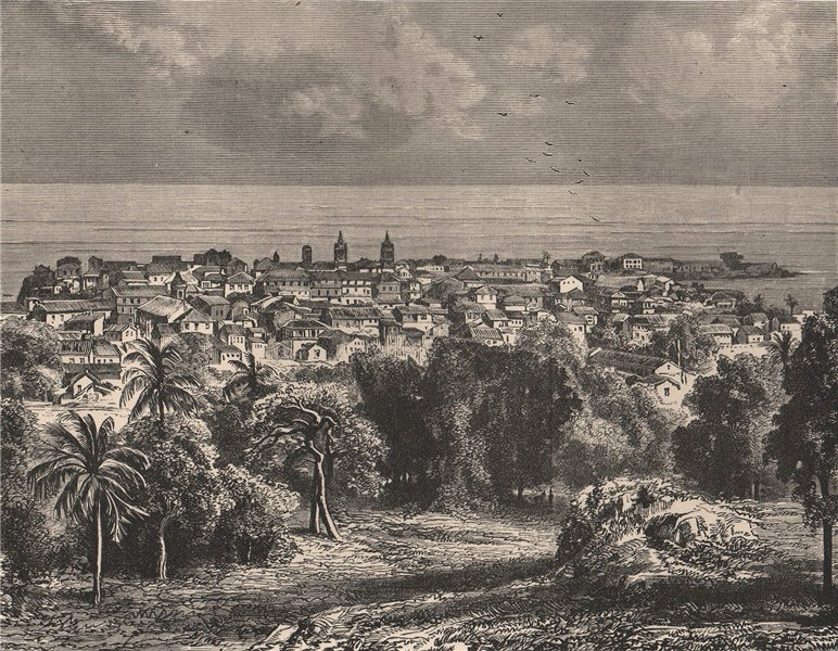 Associate Product Panama City, view from Mount Ancon 1885 old antique vintage print picture