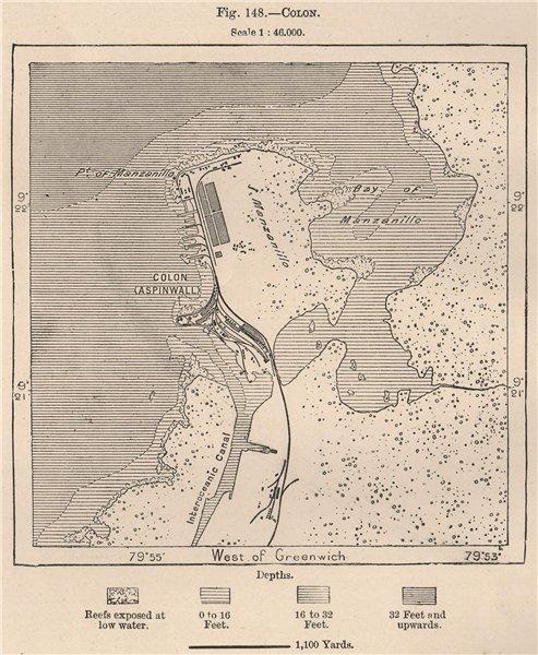 Associate Product Colon. Panama 1885 old antique vintage map plan chart
