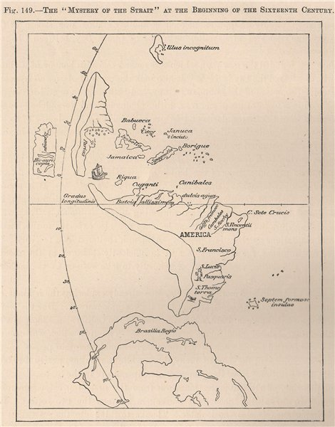 Associate Product Mystery of the Strait, early 16th century. Early Americas map 1885 old
