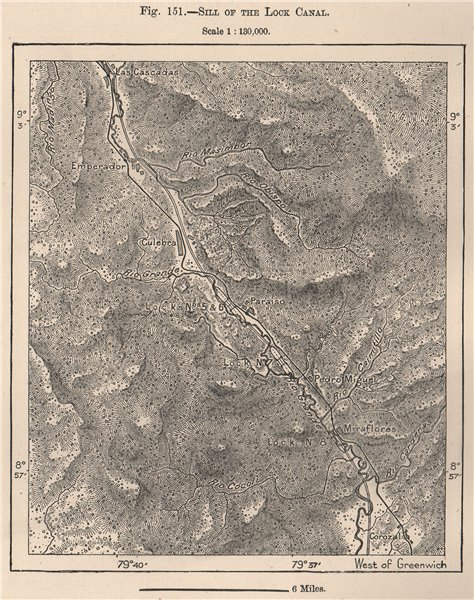 Associate Product Sill of the Lock Canal. Panama 1885 old antique vintage map plan chart
