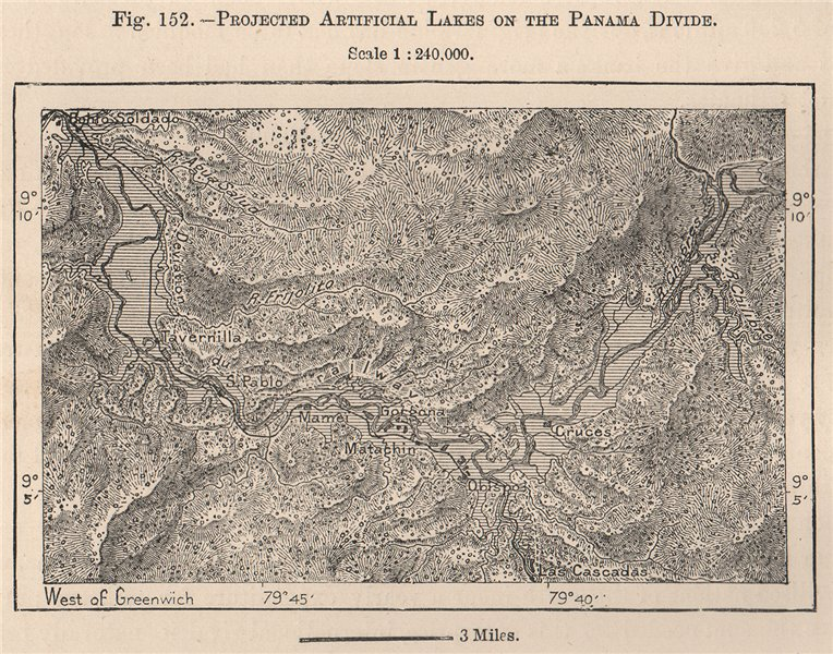 Associate Product Projected artificial Lakes on the Panama divide 1885 old antique map chart