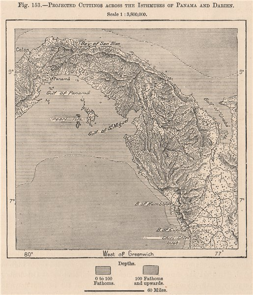Projected cuttings across the Isthmuses of Panama and Darien 1885 old map