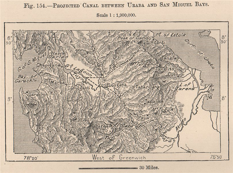 Associate Product Projected Canal between Uraba and San Miguel Bays. Panama 1885 old antique map