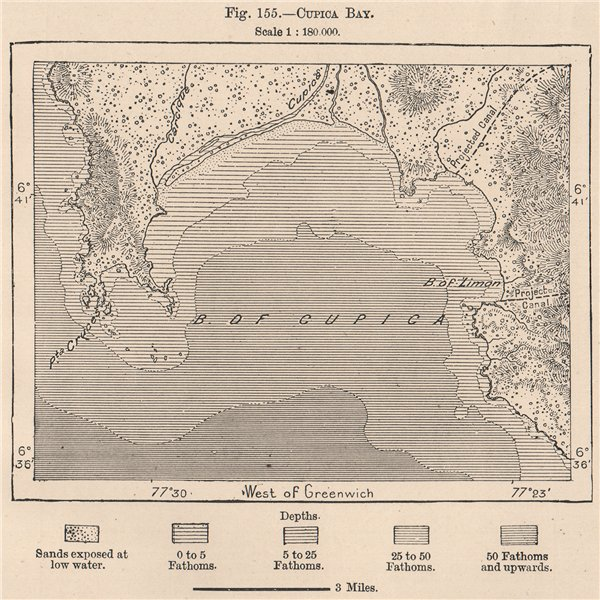 Cupica Bay. Colombia 1885 old antique vintage map plan chart