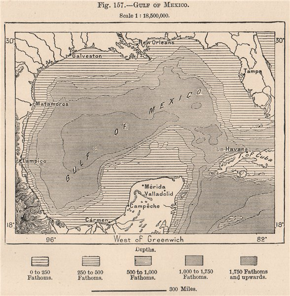 Associate Product Gulf of Mexico. North America. The American Mediterranean 1885 old antique map