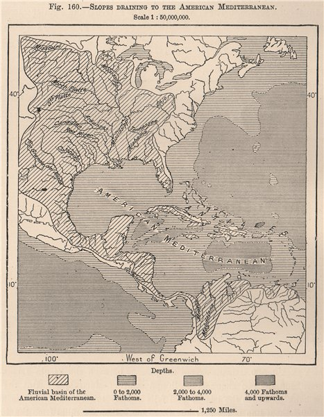 Associate Product Slopes draining to the American Mediterranean(Gulf of Mexico/Caribbean) 1885 map