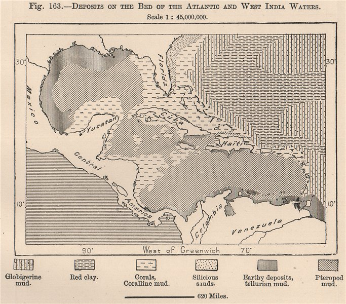 Associate Product Deposits on the bed of the Atlantic & West India waters. Caribbean 1885 map