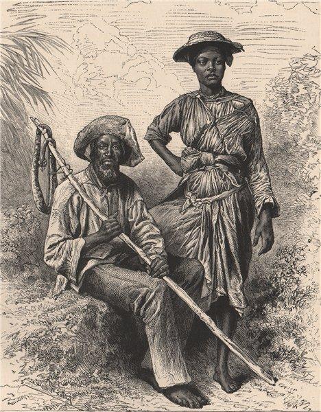 Snake-catcher & charcoal Girl, Martinique. West Indies. Lesser Antilles 1885