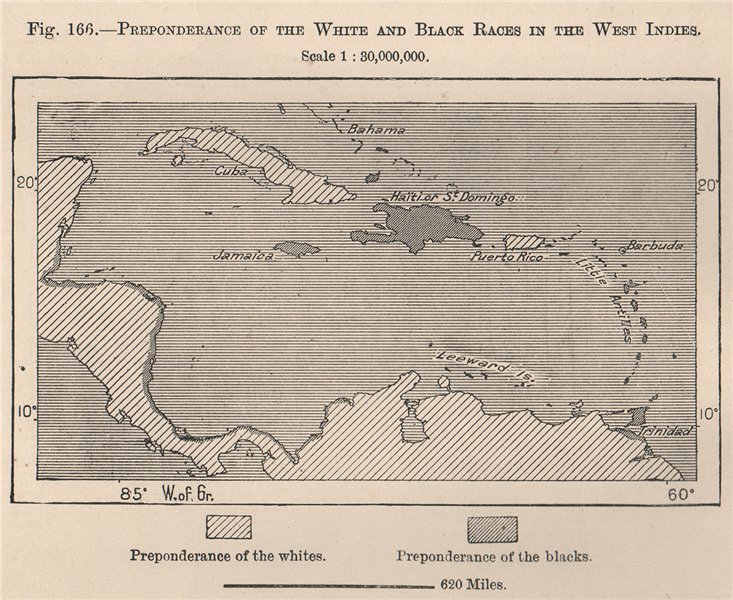 Associate Product Preponderance of the white & black races in the West Indies.Caribbean 1885 map