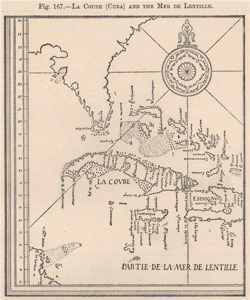 Associate Product La Coube (Cuba) and the Mer de Lentille. Caribbean Bahamas Florida 1885 map