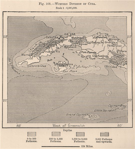 Western division of Cuba 1885 old antique vintage map plan chart