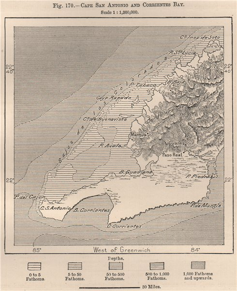 Associate Product Cape Cabo San Antonio and Corrientes Bay. Cuba 1885 old antique map plan chart