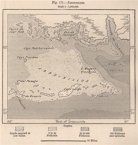 Associate Product Jardinillos. Cuba 1885 old antique vintage map plan chart