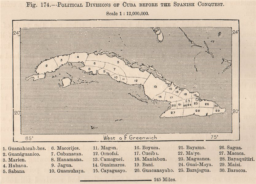 Associate Product Political divisions of Cuba before the Spanish Conquest 1885 old antique map