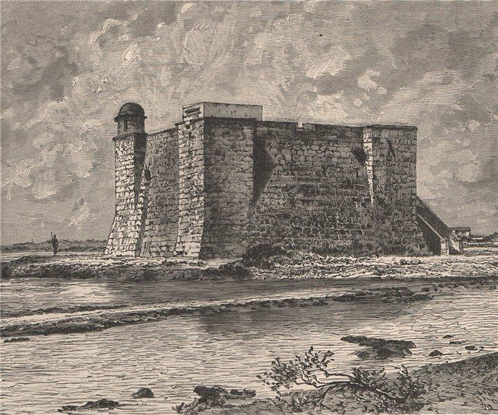 Associate Product Torreón de la Chorrera Tower, mouth of the Almendares. Cuba 1885 old print