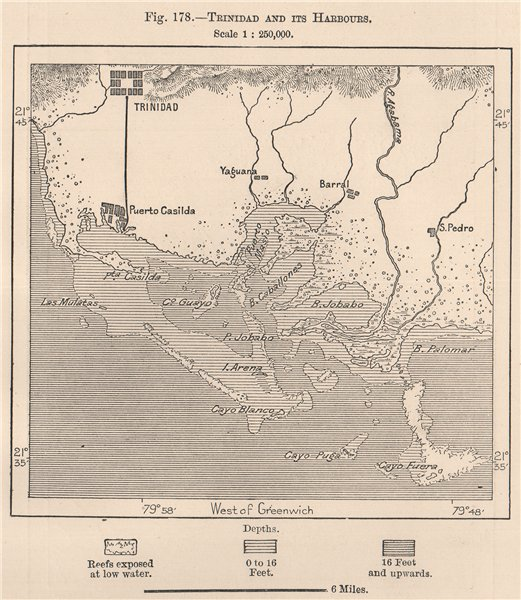 Associate Product Trinidad and its Harbours. Cuba 1885 old antique vintage map plan chart