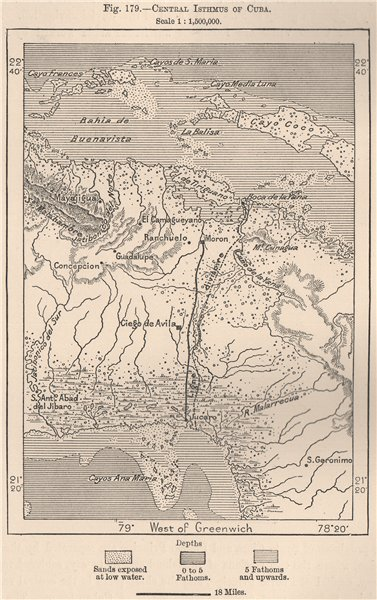 Associate Product Central Isthmus of Cuba 1885 old antique vintage map plan chart