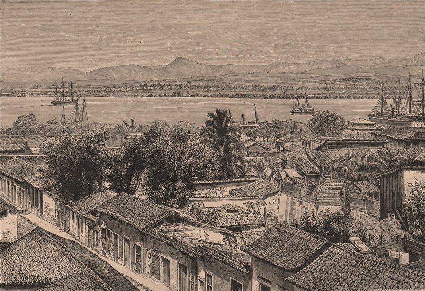 Associate Product General view of Santiago, Cuba 1885 old antique vintage print picture