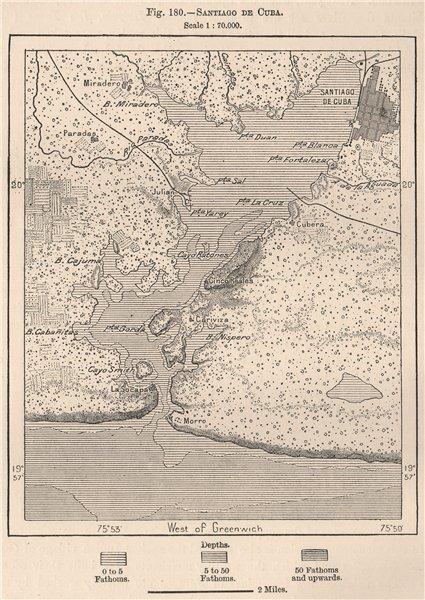Associate Product Santiago de Cuba 1885 old antique vintage map plan chart