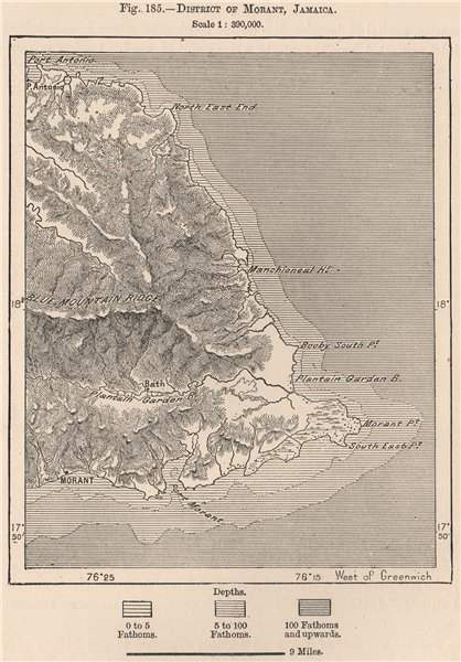 Associate Product District of Morant, Jamaica 1885 old antique vintage map plan chart