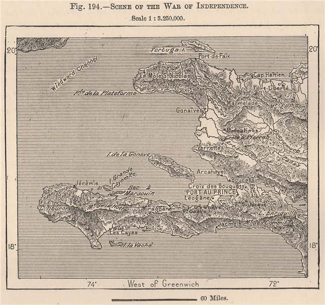 Scene of the war of independence. Haiti. Hispaniola 1885 old antique map chart