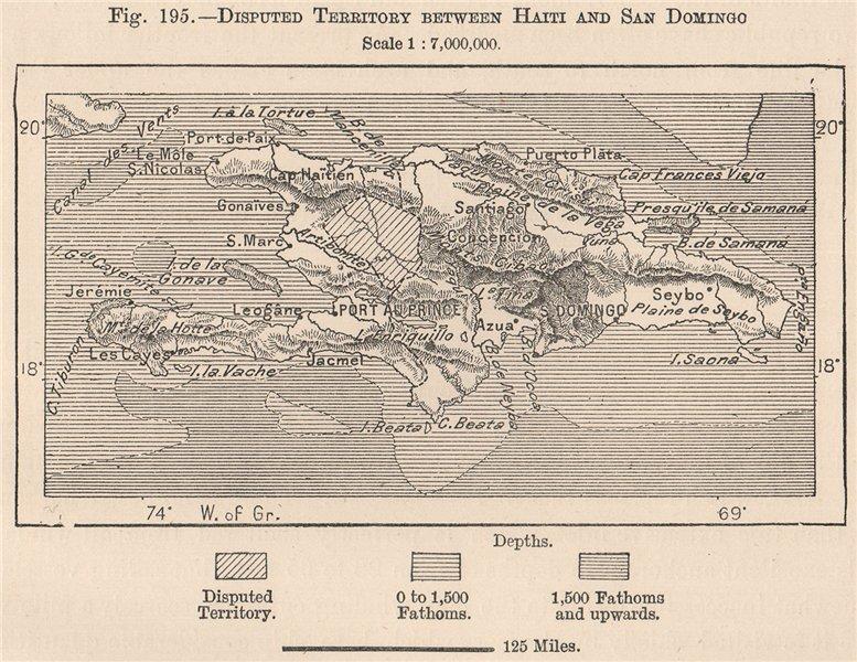 Associate Product Disputed Terr. Haiti Santo Domingo. Hispaniola. Hispaniola 1885 old map