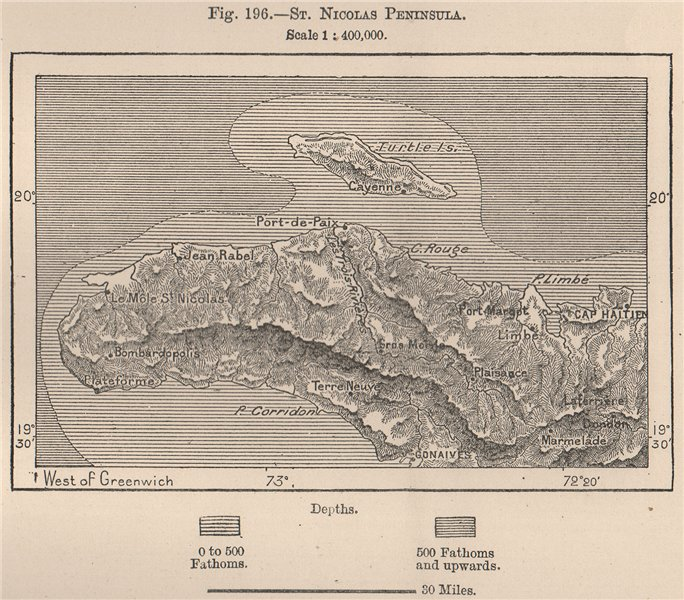 Associate Product St. Nicolas Peninsula. Haiti. Hispaniola 1885 old antique map plan chart