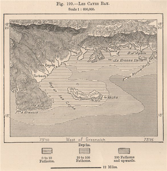 Associate Product Les Cayes Bay. Haiti. Hispaniola 1885 old antique vintage map plan chart
