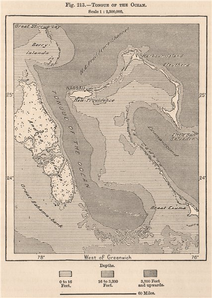 Associate Product Tongue of the Ocean. Bahamas 1885 old antique vintage map plan chart