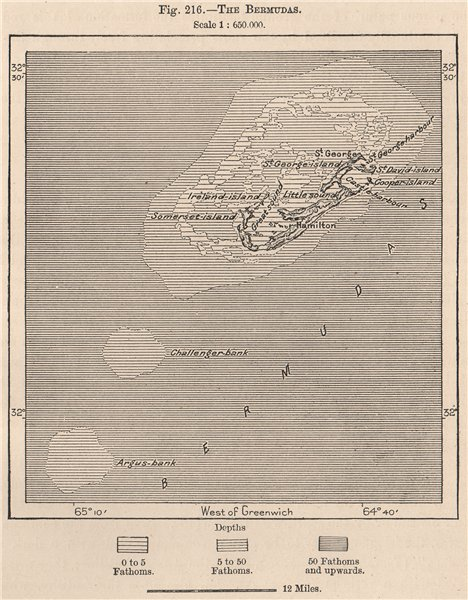 Associate Product The Bermudas 1885 old antique vintage map plan chart