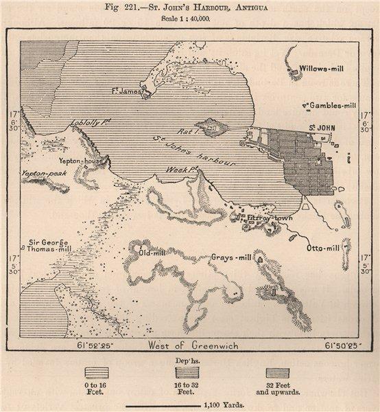 Associate Product St. John's Harbour, Antigua. West Indies. The Lesser Antilles 1885 old map