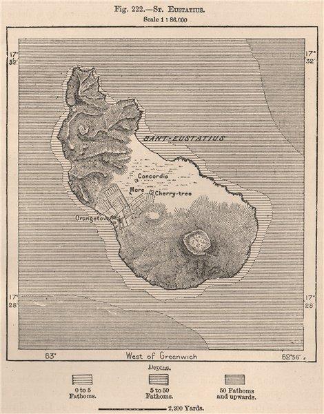 Associate Product Sint. Eustatius. West Indies. The Lesser Antilles 1885 old antique map chart