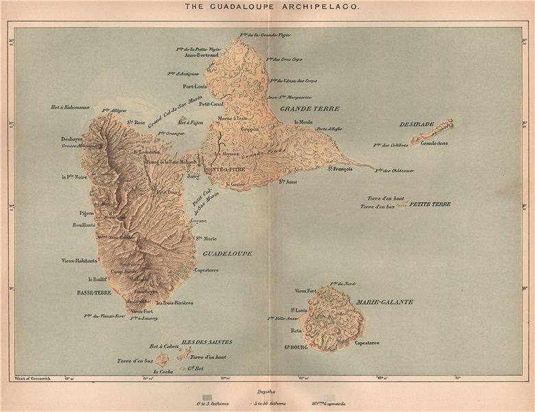 Associate Product Guadaloupe Archipelago. Marie-Galante Iles des Saintes. Lesser Antilles 1885 map