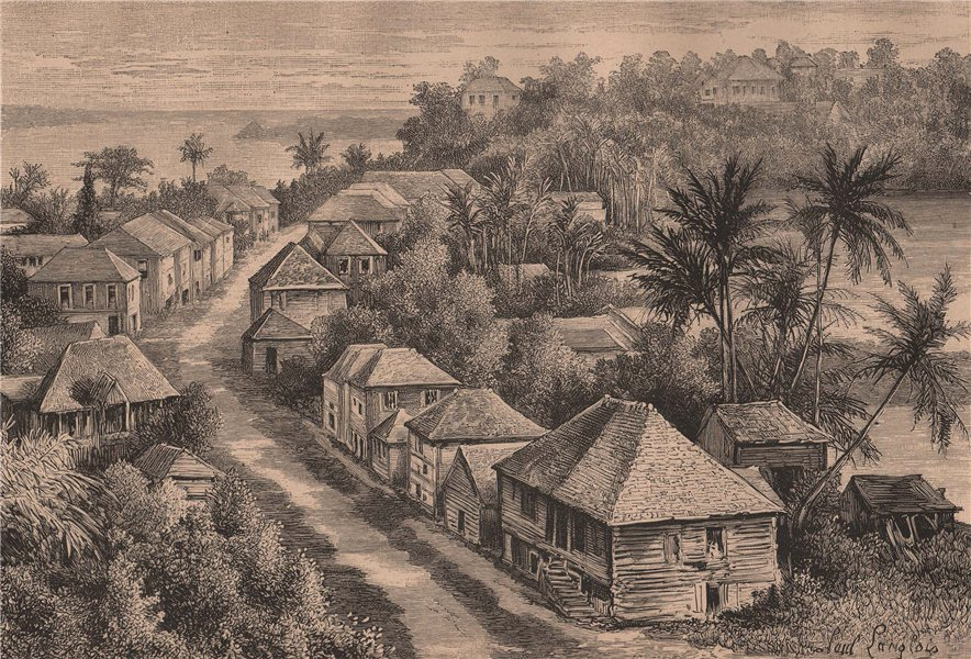 Associate Product View of Basse-Terre, Guadeloupe. West Indies. The Lesser Antilles 1885 print