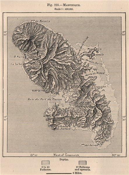 Associate Product Martinique. West Indies. The Lesser Antilles 1885 old antique map plan chart