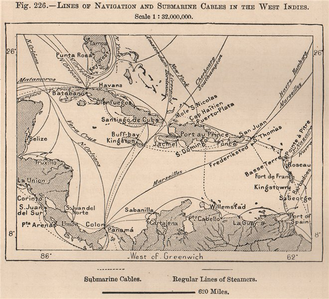 Lines of Navigation & Submarine Cables in the West Indies 1885 old antique map