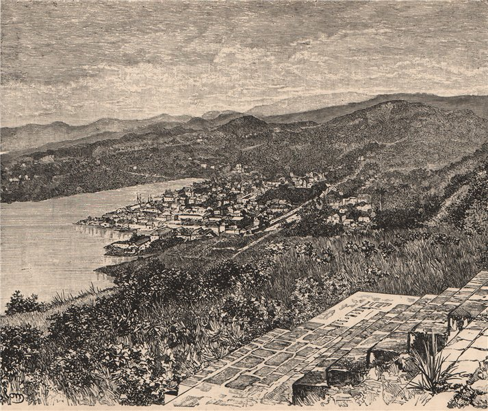 Associate Product General view of Castries, St. Lucia Island. West Indies. Lesser Antilles 1885